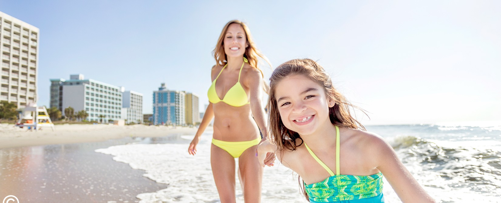Mother and daughter on the beach in Myrtle Beach.