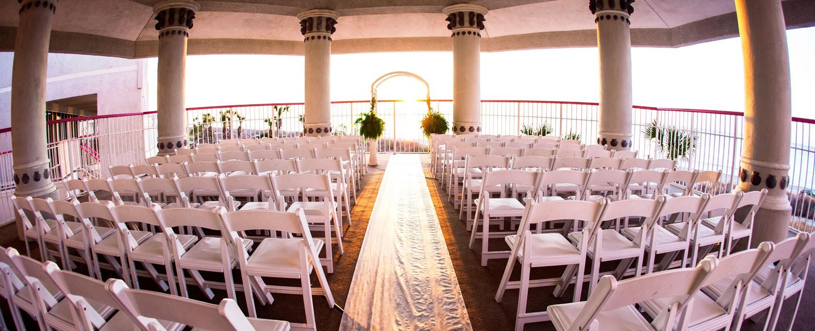 Wedding Alter On Outdoor Patio Overlooking The Ocean At Crown Reef Resort