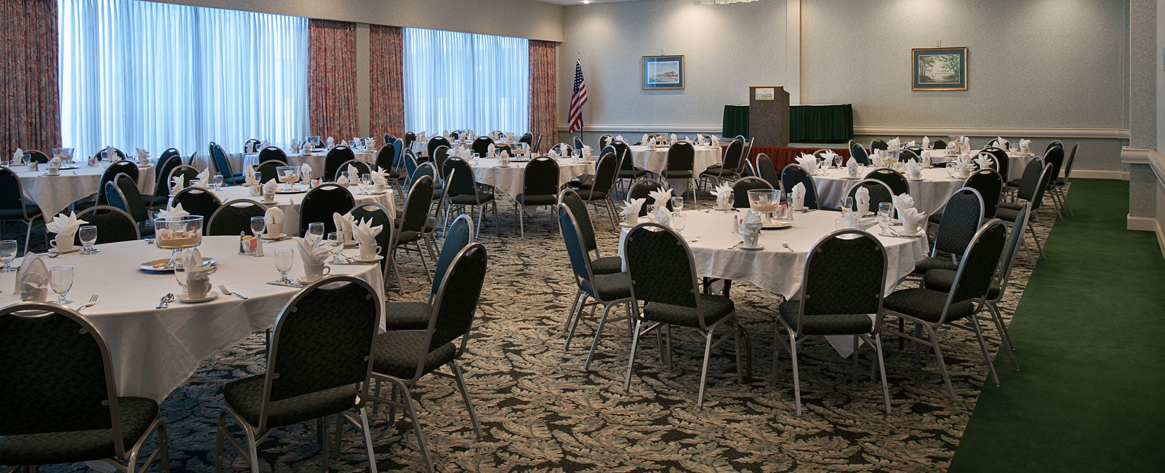 Landmark Resort meeting or conference room with tables and podium set up