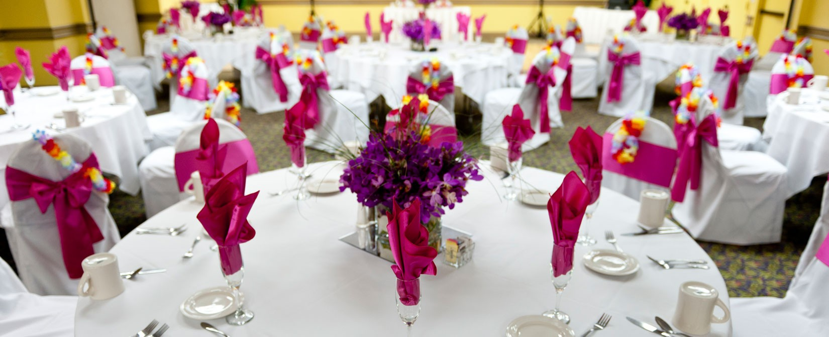 pink wedding or party place settings at Sea Watch Resort