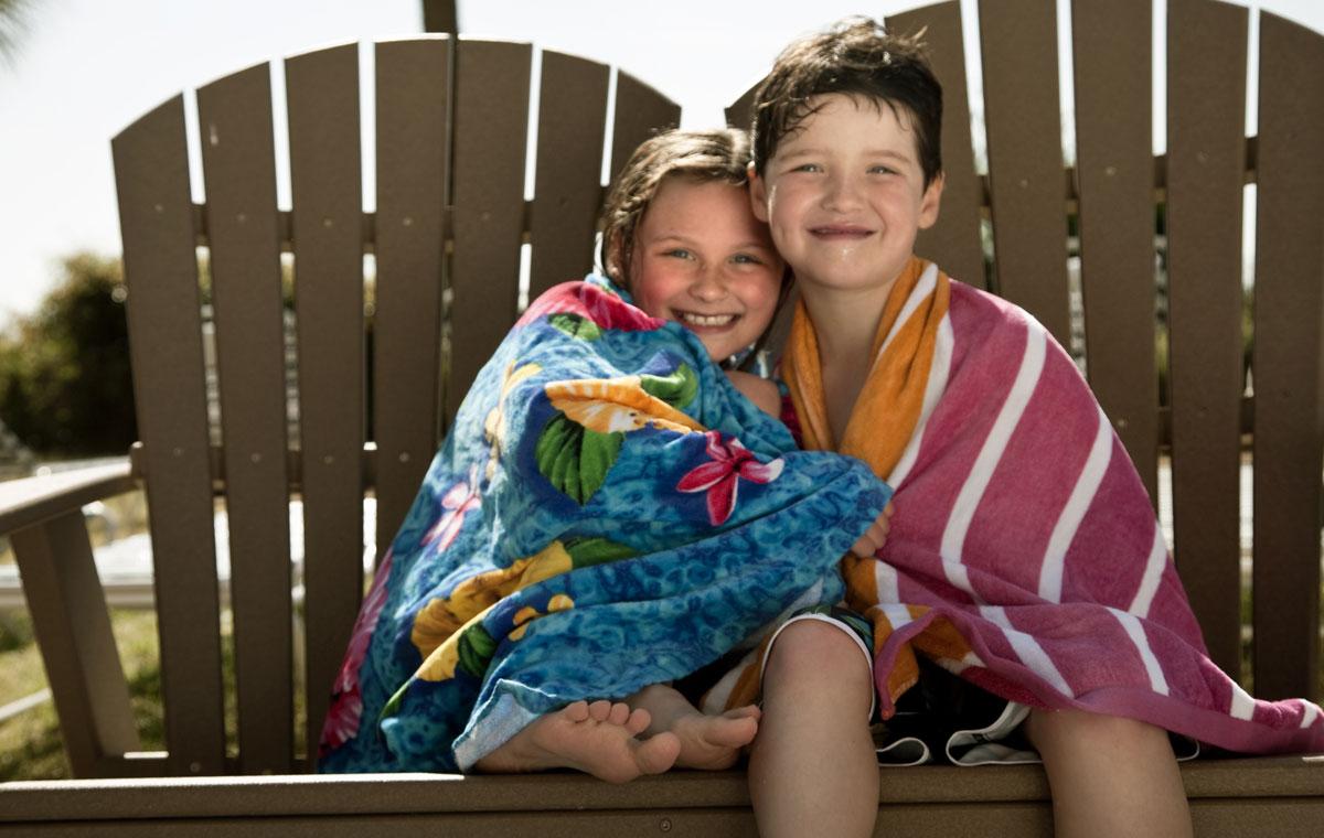 Kids in towels in Myrtle Beach
