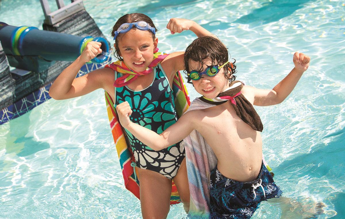 kids at captains quarters resort pool deck