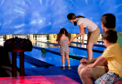 family bowling at level 6 entertainment center