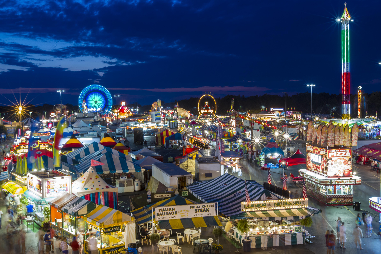fairgrounds at night