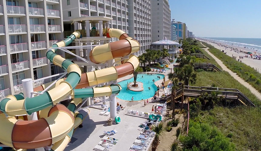 This South End Hotel Features A 38 Foot Tall Oceanfront Waterpark An Extensive Event Center And Plentiful Pools Dining Options Crown Reef Beach Resort