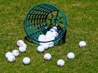 a basket of golf balls