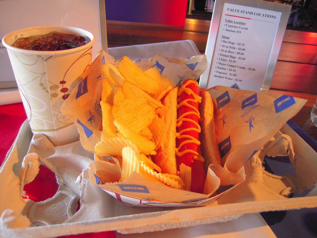 hotdog and chips plate at baseball game
