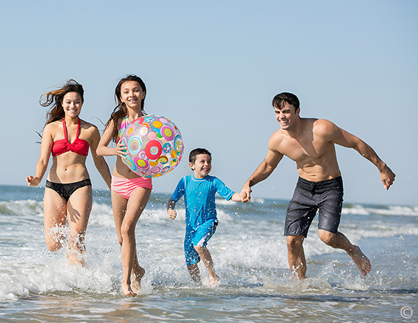 Family on the beach in Myrtle Beach on vacation