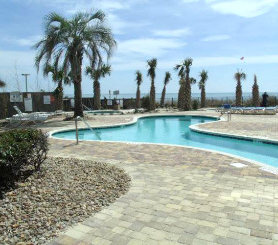 Renovated pool deck at Palace Resort in Myrtle Beach, SC.
