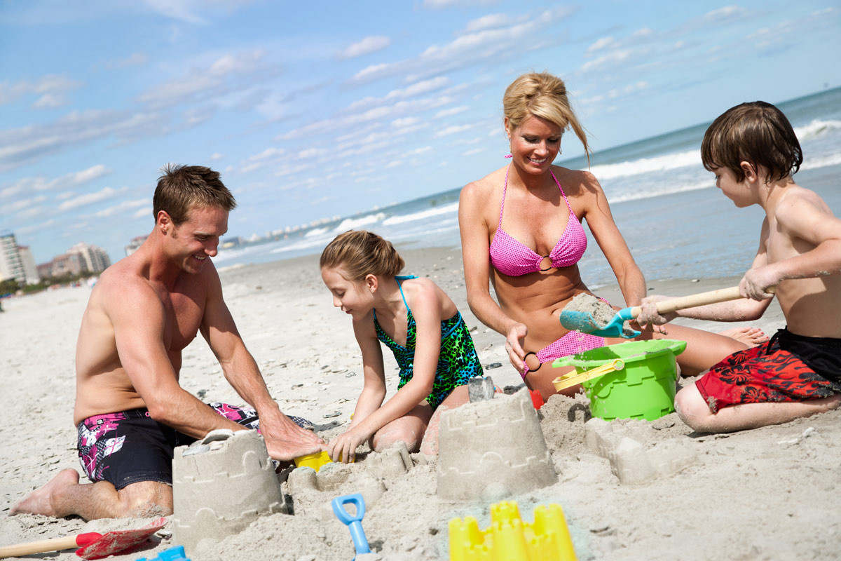 Building sandcastles on the beach in Myrtle Beach, SC