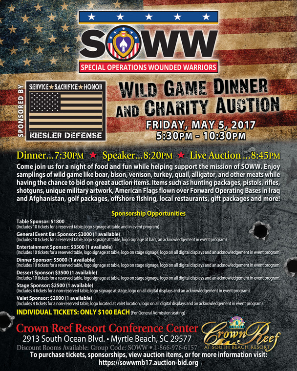 SOWW Wild Game and Charity Auction, Myrtle Beach, SC